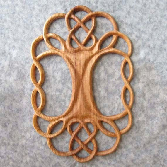 Tree of Life Celtic Wood Carved Knot - Yggdrasil - World Tree- Symmetrical Variation