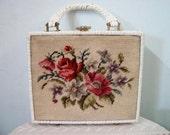 Adorable Vintage Wicker and Needlepoint Floral Handbag