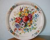 Beautiful Vintage English Floral Tin Plate