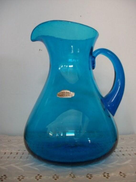 Vintage Pacific Blue Blenko Glass Pitcher