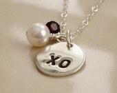 Sterling Silver XO Necklace, Real Fresh Water Pearl, Swarvoski Crystal, Kiss & Hug, Birthstone Crystal, Sterling Silver Charm, Stamped Disc