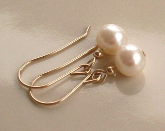 Natural Fresh Water Pearls Earrings, 14 KT Gold Filled, Real Pearls, Small Dangle Earrings