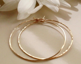 Medium Gold Hoop Earrings, Thin Lightweight Hammered Hoop Earrings, 1.5 Inch Gold Filled Hoops, 14KT Gold Filled Hoop Earrings
