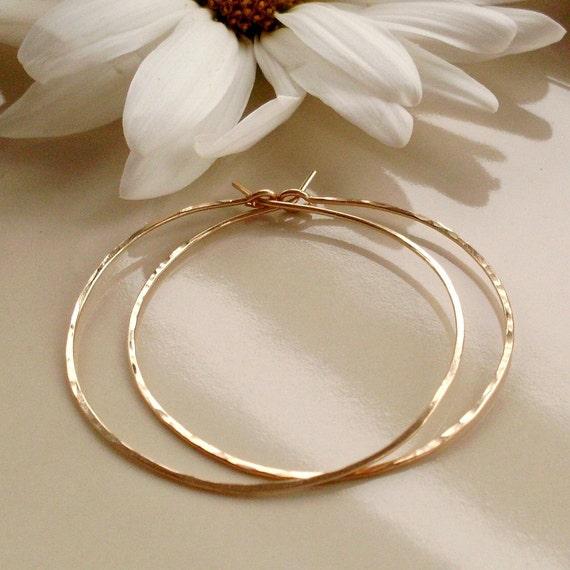 Medium Gold Hoop Earrings, Thin Lightweight Hammered Hoop Earrings, 1.5 Inch Gold Filled Hoops, 14KT Gold Filled Hoop Earrings