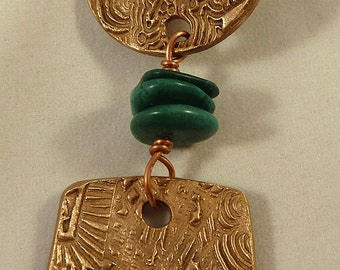Handcrafted Bronze and Turquoise Pendant reserved for kelli
