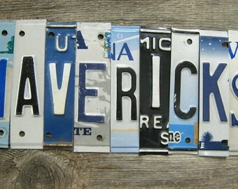 OOAK Dallas Mavericks basketbal NBA sports upcycled license plate art sign blue white silver tomboyART tomboy