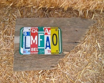 LMFAO upcycled license plate art sign on barn wood tomboyART tomboy recycle OOAK Woody guthrie Americana texting