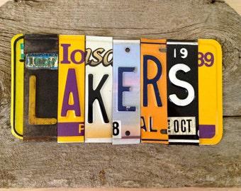 OOAK Los Angeles Lakers basketbal NBA sports upcycled license plate art sign yellow gold purple tomboyART tomboy
