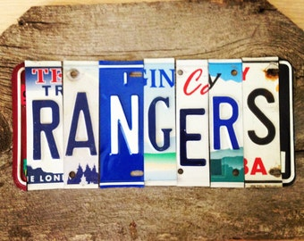 OOAK New York RANGERS NHL hockey sports upcycled license plate art sign blue red white tomboyART tomboy
