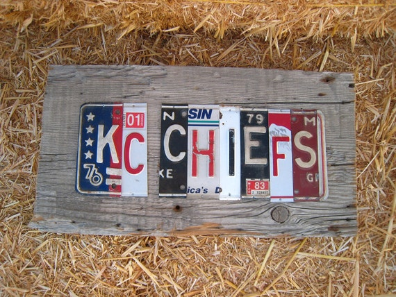 OoAK Kansas City CHIEFS NFL football sports upcycled recycled license plate art sign tomboyART tomboy superbowl