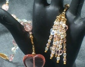 Pink Glass and Gold Necklace