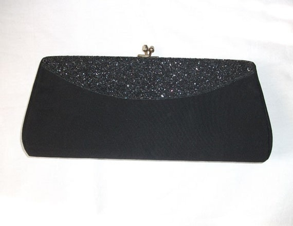 Vintage Black Clutch with Glitter Accents