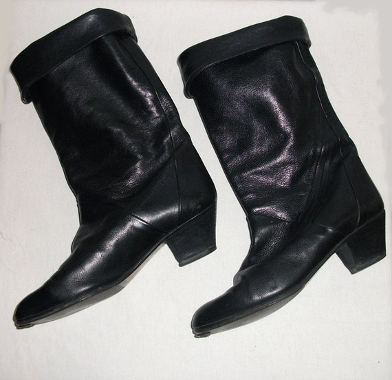 Vintage Black Italian Leather Boots Size 8