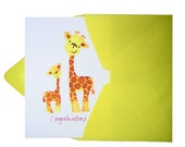 Congratulations New Baby Greeting Card- SMILEY GIRAFFES