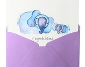 Congratulations New Baby Greeting Card- CUTE ELEPHANT AND BABY