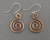 Antiqued Copper Spiral Earrings