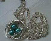 Turquoise Pearl Silver Birds Nest Necklace