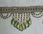 4 Inch Beautiful Sage Green Scalloped Teardrop Beaded Fringe Trim