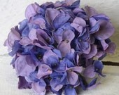 Silk Flowers - One Large Hydrangea Head in Shades of Lavender, Blue, Hint of Pink, TOP QUALITY