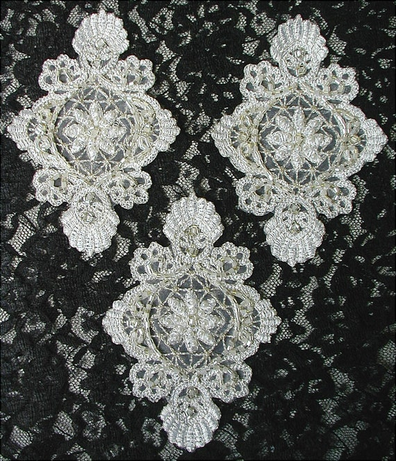 3 BEADED APPLIQUES, White, Silver, Seed PEARLS, Bugle Beads
