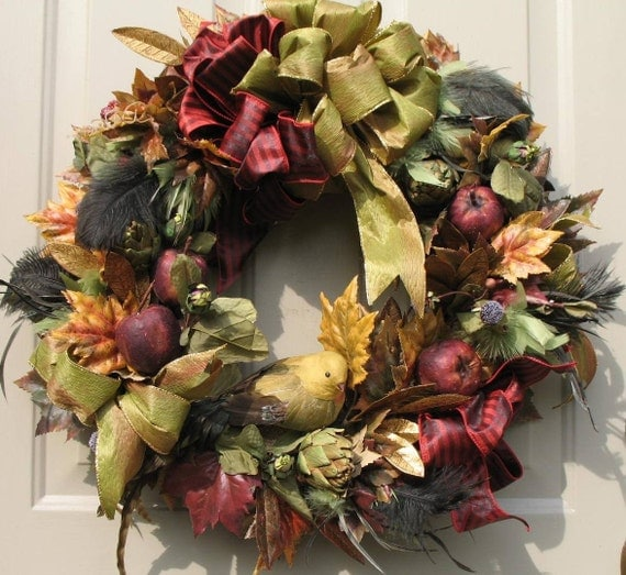 Bird and Feathers Fall/Winter Door Wreath by English Rose