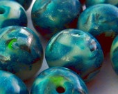Handmade Beads Polymer Clay Round Teal 11mm