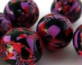Handmade Polymer Clay Beads Red Purple Black Round 13mm