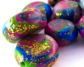 Pink, Blue, Green, Gold Handmade Polymer Clay Beads 14mmx8mm 9ct