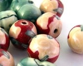 Handmade Polymer Clay Beads Red Pink Green Rounds Barrels 11mm 15mm 11count