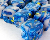 Handmade Polymer Clay Beads Blue yellow Cube 10mm 14 count BE136
