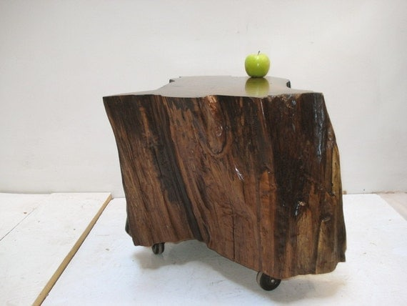 Walnut Stump Table on Casters