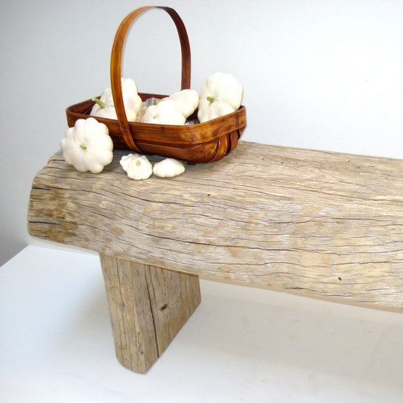 Primitive Weathered Wood Bench