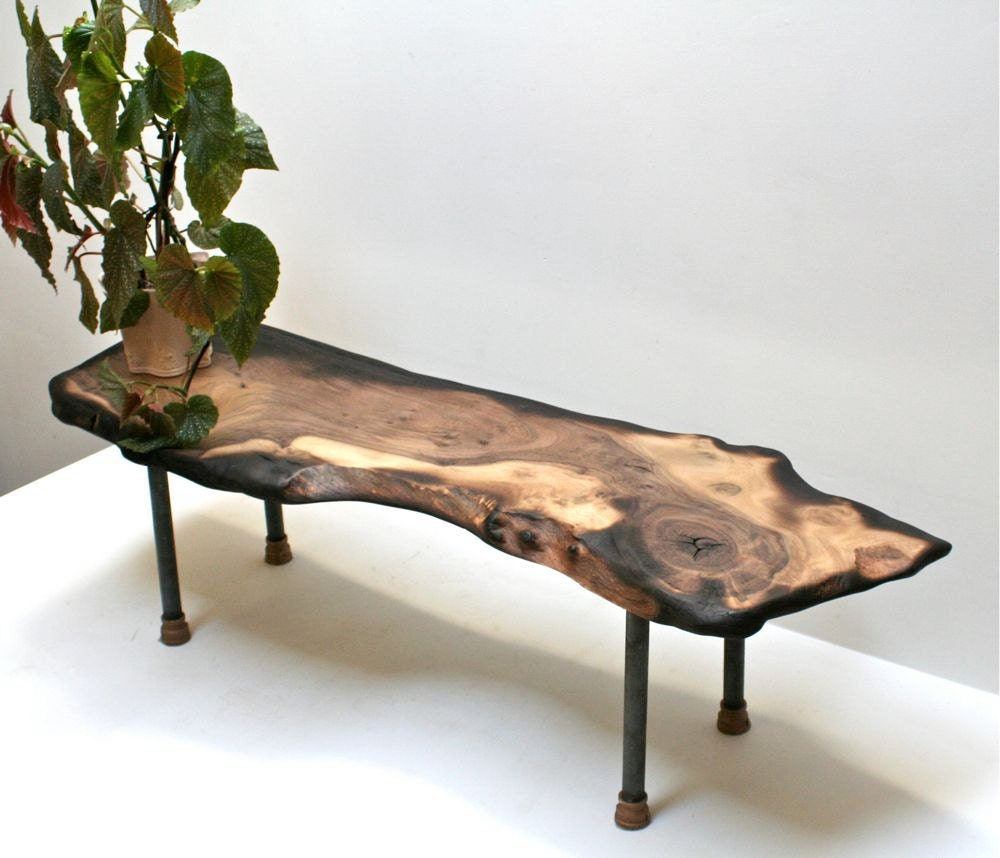 Walnut Coffee Table Recycled Pipe Legs