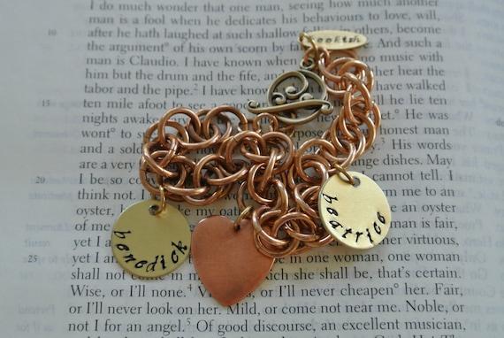 Benedick Loves Beatrice Charm Bracelet in Bronze, Shakespeare Charm Bracelet, Much Ado