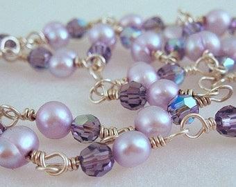 Purple Haze Pearl and Swarovski Necklace