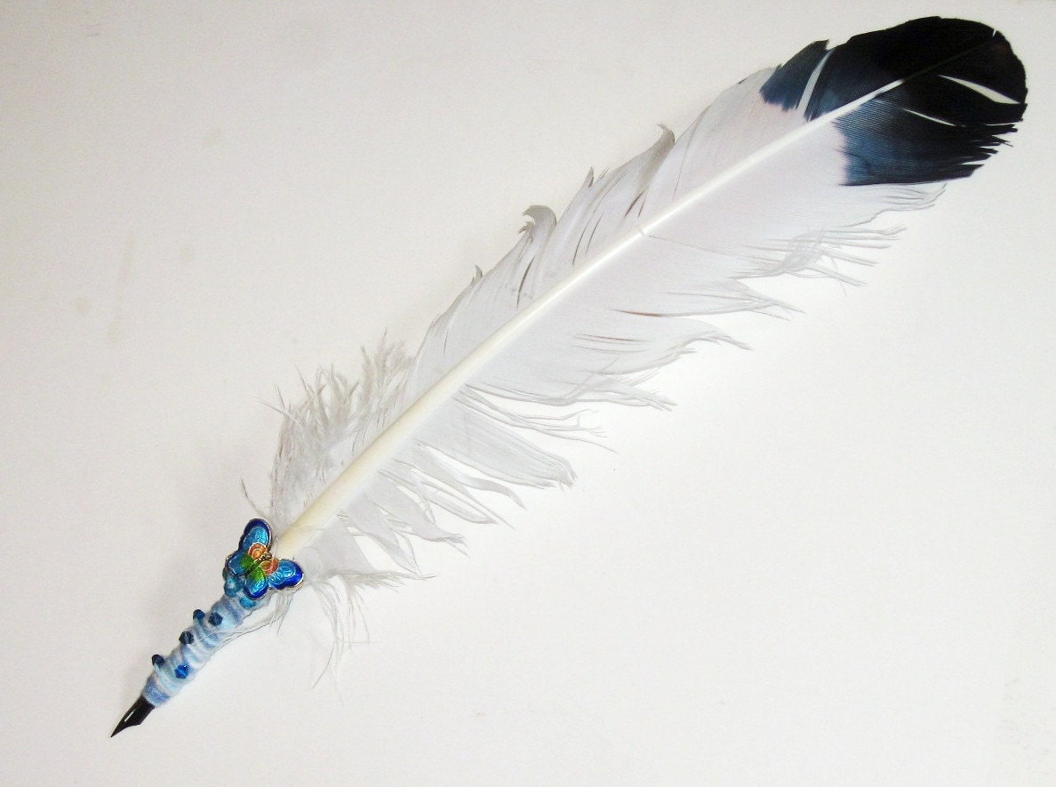 Items similar to Eagle Feather Quill Pen - Butterfly Themed on Etsy