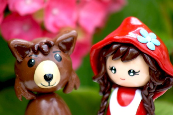 Little red riding hood and wolf cake topper figurine