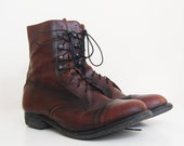 70s mahogany brown lace up leather boots 9 40