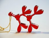 Christmas Mistletoe Charm - Holly Red Holiday Necklace - Laser Cut Acrylic - Red and Gold Jewelry - XOXO - Holiday Kiss
