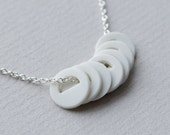 Simple Porcelain Necklace - Geometric Ceramic Beads - Sterling Silver Chain - Laser Cut Circles
