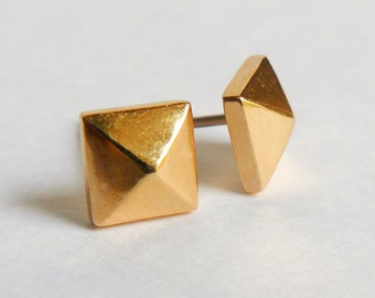 Gold Pyramid Stud Earrings - Studded Punk Rock Studs - Faceted Earings - Geometric Jewelry - Free Shipping US - by Hook and Matter