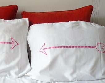 SALE - Neon Pink Arrow Pillow Case - Dorm Decor - Housewarming Gift - Novelty Pillowcase - Decorative Pillows