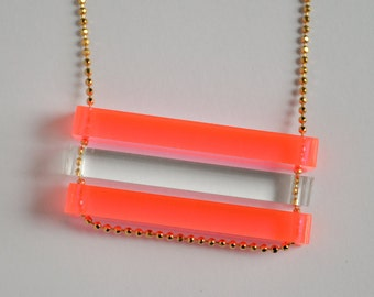 Laser Cut Neon Pink and Clear Acrylic Bar Necklace - Summer Color Block Jewelry - Custom Stacked Long Fluorescent Bars - Long Gold Chain
