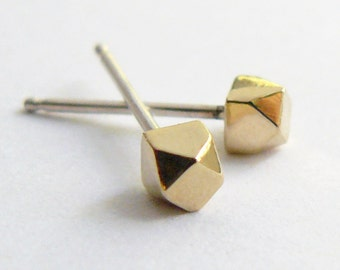 Gold Stud Earrings - Geometric Faceted Gold Studs - Tiny Everyday Earings - Ethical and Eco Friendly Jewelry - Handmade by Hook And Matter