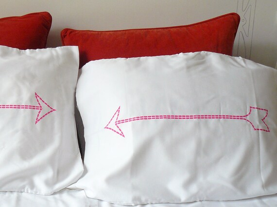SALE - Neon Pink Arrow Pillow Case - Dorm Decor - Housewarming Gift - Novelty Pillowcase - Decorative Pillows