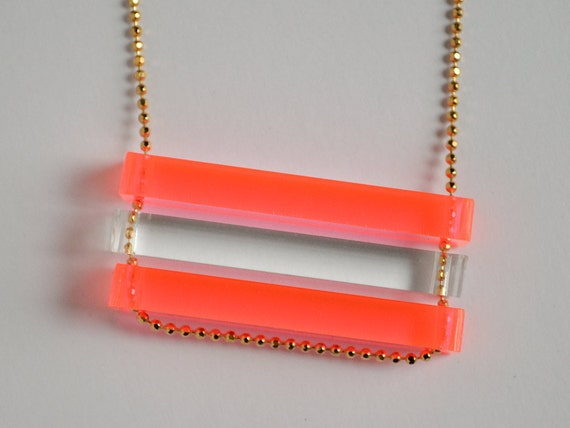 Laser Cut Neon Pink and Clear Acrylic Bar Necklace - Color Block Jewelry - Custom Stacked Long Fluorescent Bars - Long Faceted Gold Chain