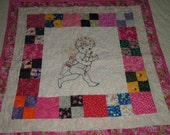 Embroidery Valentine Cherub Angel Miniature Doll Quilt / Wall Hanging Table Cover Cloth Art Piece