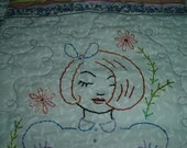 Embroidery Floral Flowers Green Purple Pink Girl Miniature Doll Quilt / Wall Hanging Table Cover Cloth Art Piece