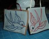 Christmas Birds Ornament Set Embroidery and Felt Bird Gift Tags