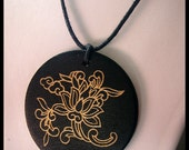 Large black carved pendant necklace